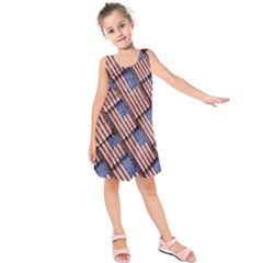 Usa Flag Grunge Pattern Kids  Sleeveless Dress