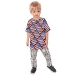 Usa Flag Grunge Pattern Kids  Raglan Tee
