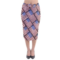 Usa Flag Grunge Pattern Velvet Midi Pencil Skirt