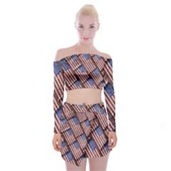 Usa Flag Grunge Pattern Off Shoulder Top with Skirt Set