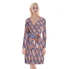 Usa Flag Grunge Pattern Long Sleeve Velvet Front Wrap Dress