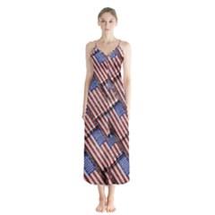 Usa Flag Grunge Pattern Chiffon Maxi Dress