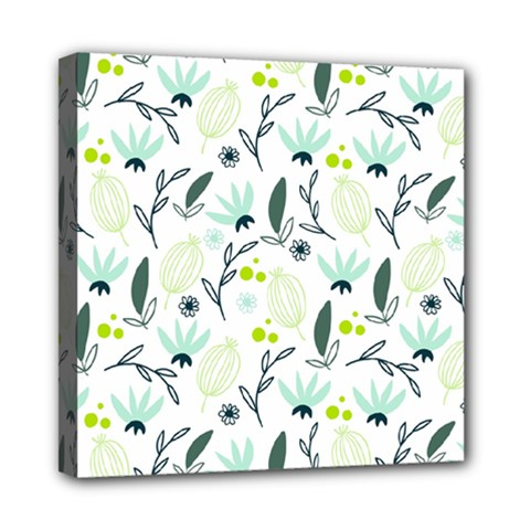 Hand drawm seamless floral pattern Mini Canvas 8  x 8