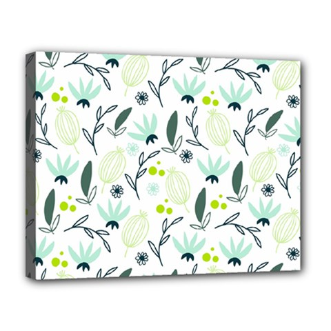 Hand drawm seamless floral pattern Canvas 14  x 11