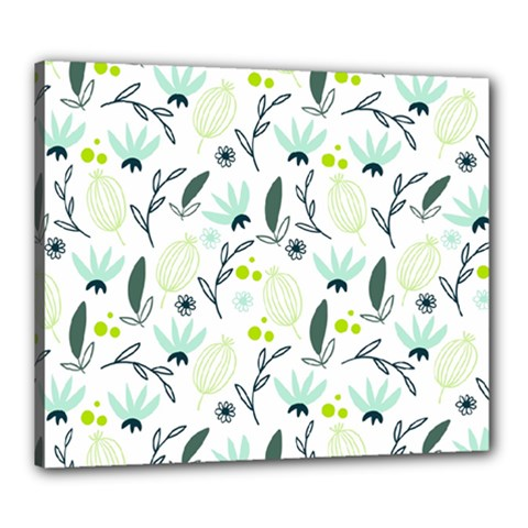 Hand drawm seamless floral pattern Canvas 24  x 20