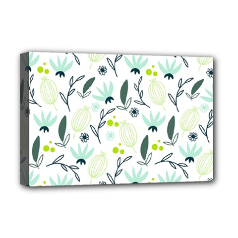 Hand drawm seamless floral pattern Deluxe Canvas 18  x 12