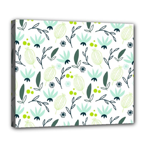 Hand drawm seamless floral pattern Deluxe Canvas 24  x 20