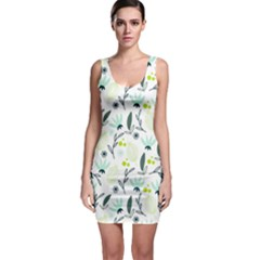 Hand drawm seamless floral pattern Sleeveless Bodycon Dress