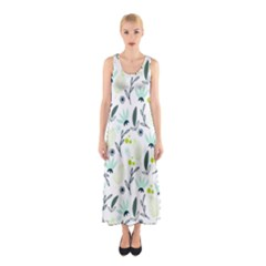 Hand drawm seamless floral pattern Sleeveless Maxi Dress
