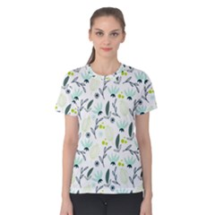 Hand drawm seamless floral pattern Women s Cotton Tee
