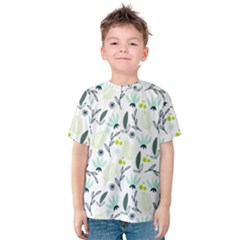Hand drawm seamless floral pattern Kids  Cotton Tee