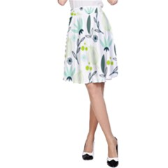 Hand drawm seamless floral pattern A-Line Skirt