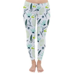 Hand drawm seamless floral pattern Classic Winter Leggings