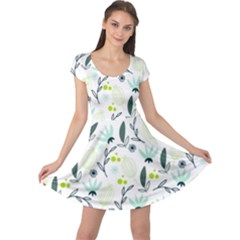 Hand drawm seamless floral pattern Cap Sleeve Dresses
