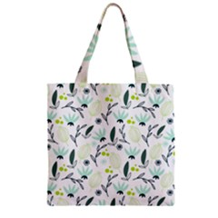 Hand drawm seamless floral pattern Zipper Grocery Tote Bag