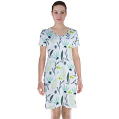 Hand drawm seamless floral pattern Short Sleeve Nightdress