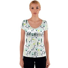 Hand drawm seamless floral pattern Women s V-Neck Cap Sleeve Top