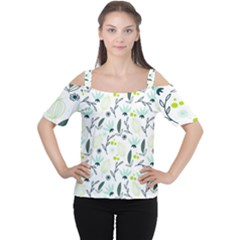 Hand drawm seamless floral pattern Women s Cutout Shoulder Tee