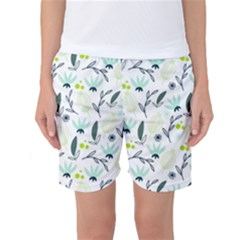 Hand drawm seamless floral pattern Women s Basketball Shorts