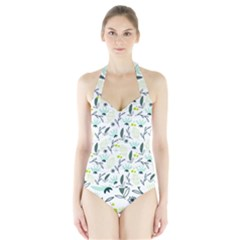 Hand drawm seamless floral pattern Halter Swimsuit