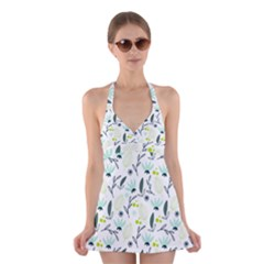 Hand drawm seamless floral pattern Halter Swimsuit Dress
