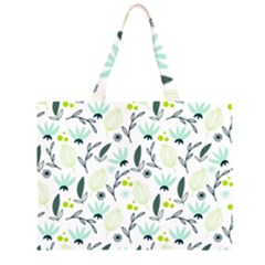 Hand drawm seamless floral pattern Zipper Large Tote Bag