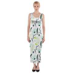 Hand drawm seamless floral pattern Fitted Maxi Dress