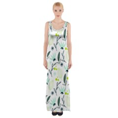 Hand drawm seamless floral pattern Maxi Thigh Split Dress