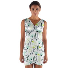 Hand drawm seamless floral pattern Wrap Front Bodycon Dress