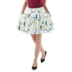 Hand drawm seamless floral pattern A-Line Pocket Skirt
