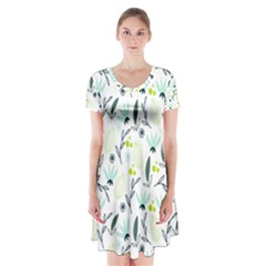 Hand drawm seamless floral pattern Short Sleeve V-neck Flare Dress