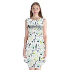 Hand drawm seamless floral pattern Sleeveless Chiffon Dress