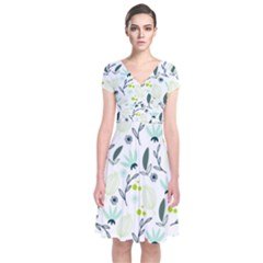 Hand drawm seamless floral pattern Short Sleeve Front Wrap Dress