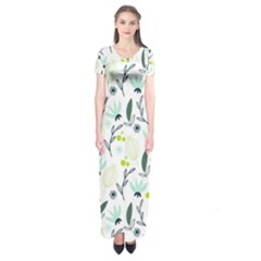 Hand drawm seamless floral pattern Short Sleeve Maxi Dress