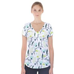 Hand drawm seamless floral pattern Short Sleeve Front Detail Top