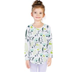Hand drawm seamless floral pattern Kids  Long Sleeve Tee