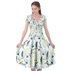 Hand drawm seamless floral pattern Cap Sleeve Wrap Front Dress