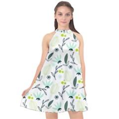 Hand drawm seamless floral pattern Halter Neckline Chiffon Dress