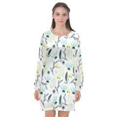 Hand drawm seamless floral pattern Long Sleeve Chiffon Shift Dress