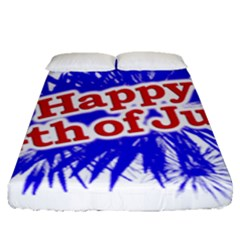 Happy 4th Of July Graphic Logo Fitted Sheet (Queen Size)
