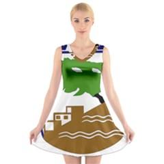 Coat of Arms of Holon  V-Neck Sleeveless Skater Dress