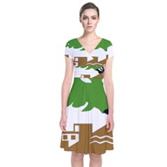 Coat of Arms of Holon  Short Sleeve Front Wrap Dress