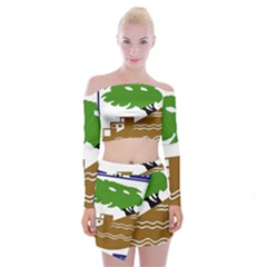 Coat of Arms of Holon  Off Shoulder Top with Skirt Set