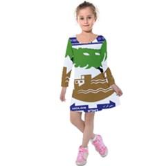 Coat of Arms of Holon  Kids  Long Sleeve Velvet Dress