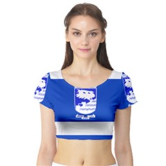 Flag of Holon  Short Sleeve Crop Top (Tight Fit)
