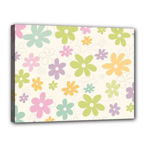 Beautiful spring flowers background Canvas 16  x 12