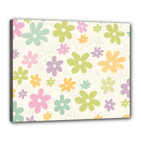 Beautiful spring flowers background Canvas 20  x 16