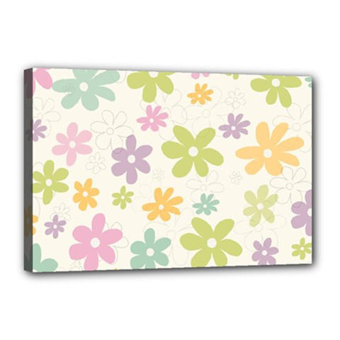 Beautiful spring flowers background Canvas 18  x 12