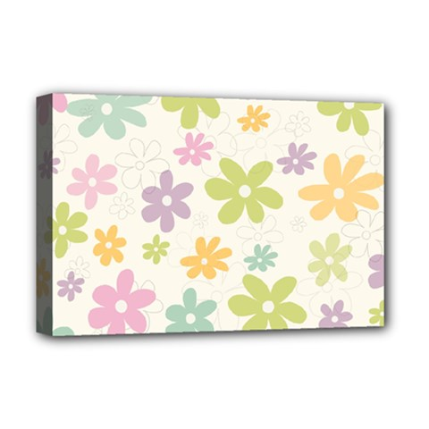 Beautiful spring flowers background Deluxe Canvas 18  x 12