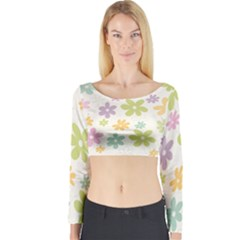 Beautiful spring flowers background Long Sleeve Crop Top